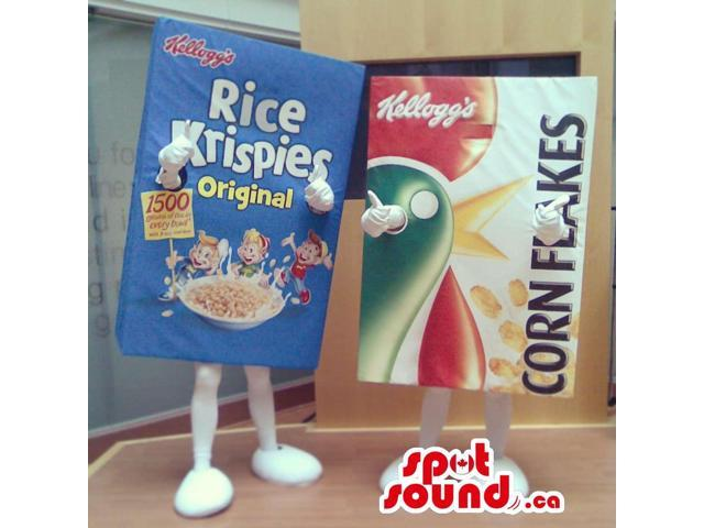 Kellogg'S Rice And Corn Flakes Cereal Box Canadian SpotSound Mascots