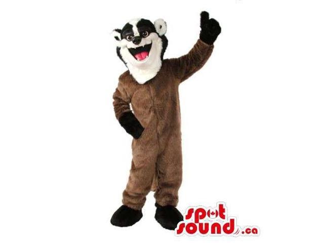 Customised Brown Plush Skunk Canadian SpotSound Mascot With Black And White Face