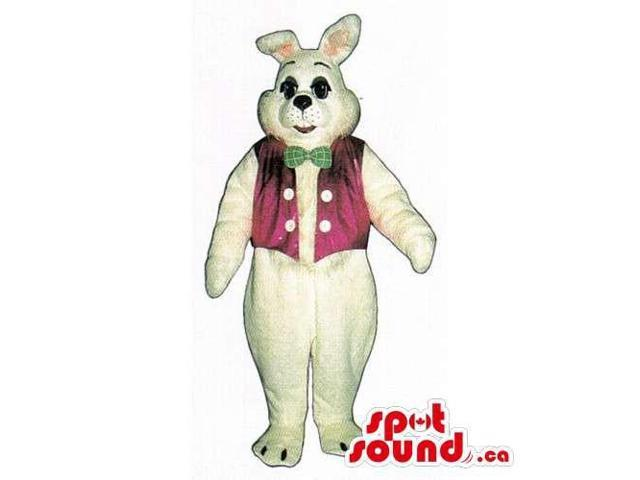 White Rabbit Canadian SpotSound Mascot Dressed In A Pink Vest And A Green Bow Tie