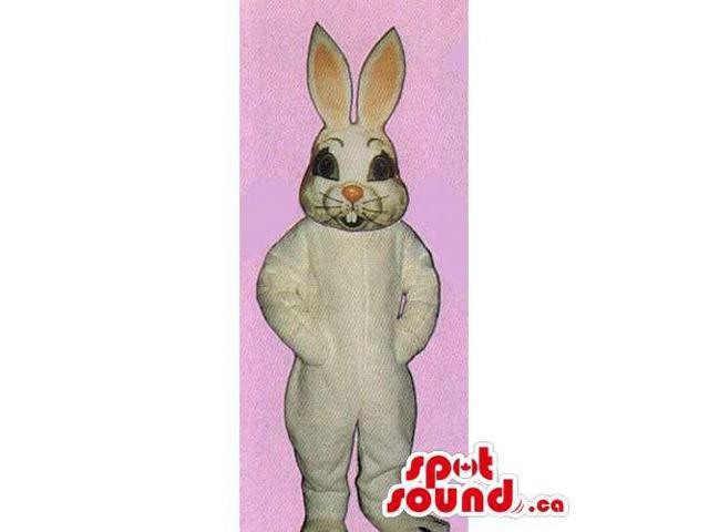 All White Rabbit Canadian SpotSound Mascot With Whiskers And Showing Teeth
