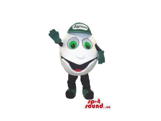Customised White Ball Canadian SpotSound Mascot Dressed In Green Advertising Cap