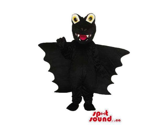 Cute All Black Bat Halloween Plush Canadian SpotSound Mascot With Round Eyes