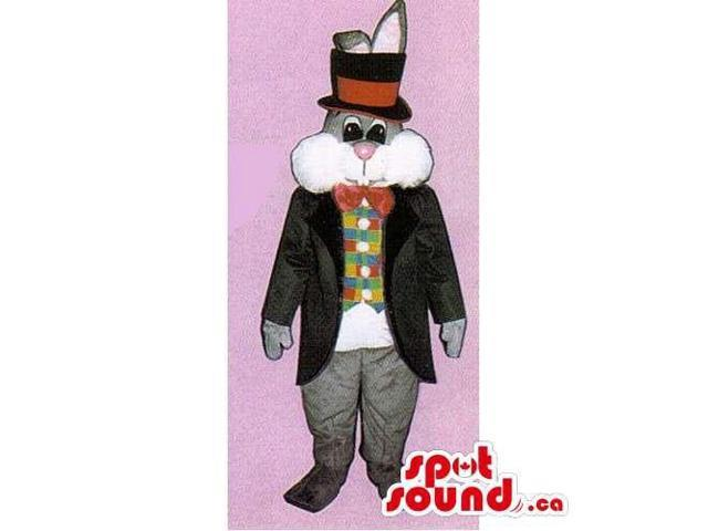 Grey Rabbit Canadian SpotSound Mascot Dressed In An Elegant Jacket And Top Hat