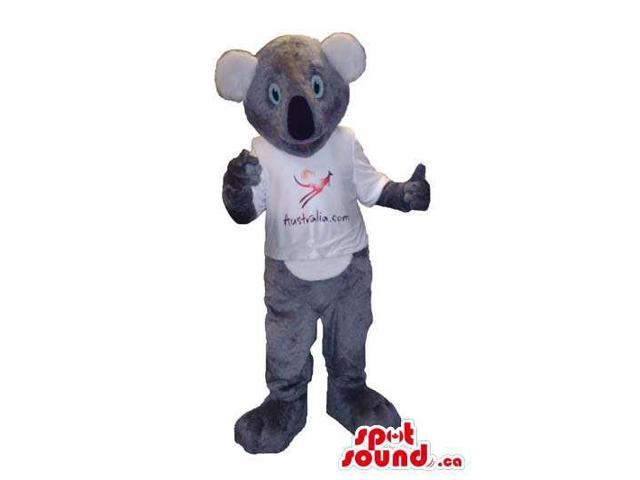 Customised Grey Koala Animal Canadian SpotSound Mascot Dressed In A White T-Shirt