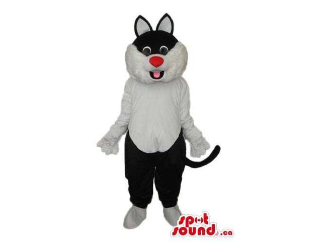 White And Black Cat Animal Plush Canadian SpotSound Mascot With Red Nose