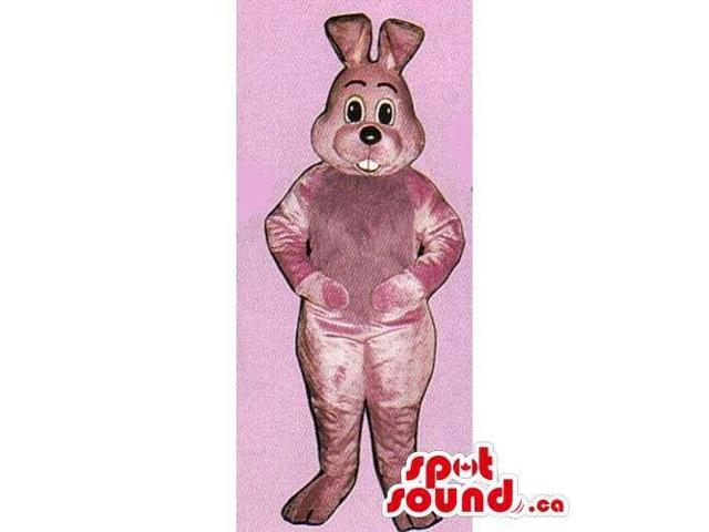 All Pink Rabbit Canadian SpotSound Mascot With Bent Ears And Showing Teeth