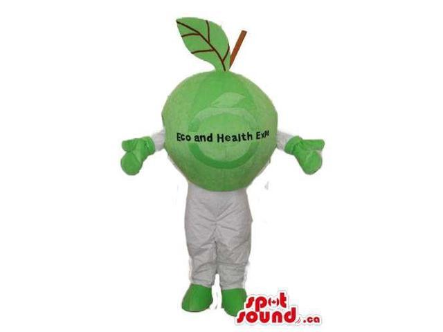 Green Apple Fruit Plush Canadian SpotSound Mascot With No Face With Text