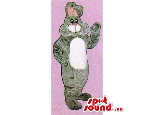 Grey Rabbit Canadian SpotSound Mascot With A Pink Nose And A White Belly