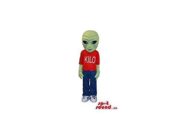 Green Customised Alien Canadian SpotSound Mascot Dressed In Red T-Shirt