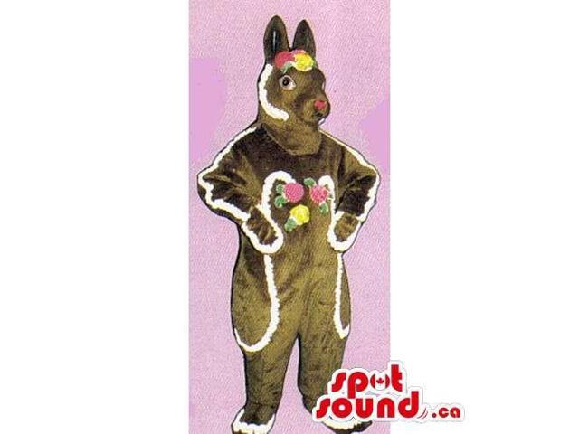Brown Ginger Sweet Candy Rabbit Canadian SpotSound Mascot With Decoration