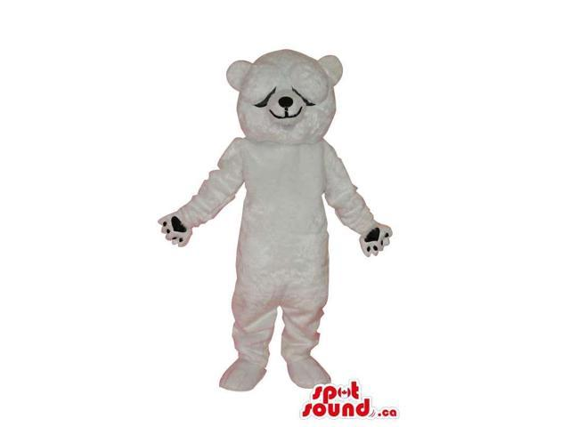 Cute White Bear Plush Animal Canadian SpotSound Mascot With Closed Eyes