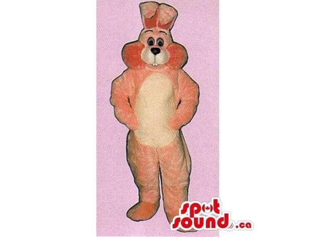 Pink Rabbit Canadian SpotSound Mascot With A Black Nose And A White Belly
