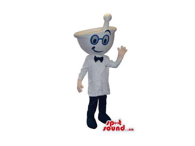 Cute Pharmacy Bowl Head Canadian SpotSound Mascot Dressed In Glasses And Bow Tie