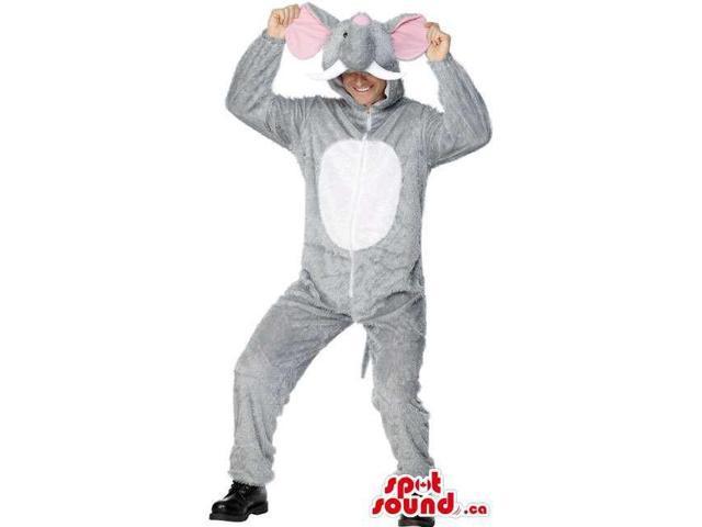 Grey And White Elephant Adult Size Costume Or Plush Canadian SpotSound Mascot
