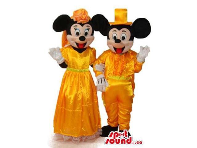 Mickey Mouse Disney Character With Golden Shinny Clothes