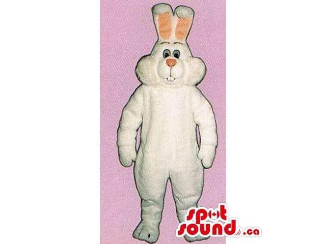 All White Rabbit Canadian SpotSound Mascot With A Pink Nose And Ears