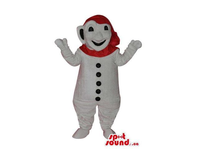 White Snowman Plush Canadian SpotSound Mascot With A Red Scarf On Its Head