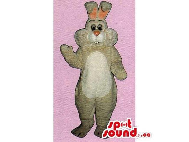 All Beige Rabbit Canadian SpotSound Mascot With A Pink Nose And A White Belly