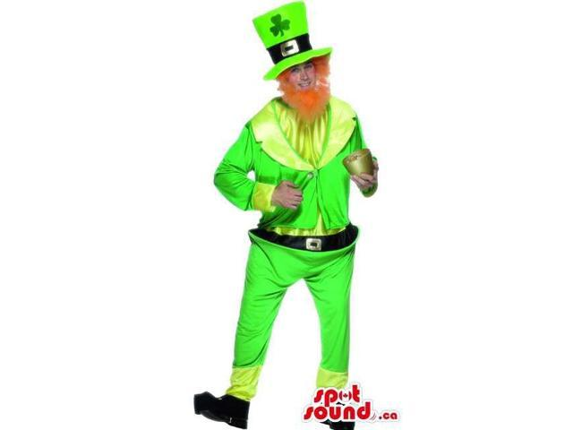 Green Flashy Leprechaun Adult Size Costume With A Red Beard