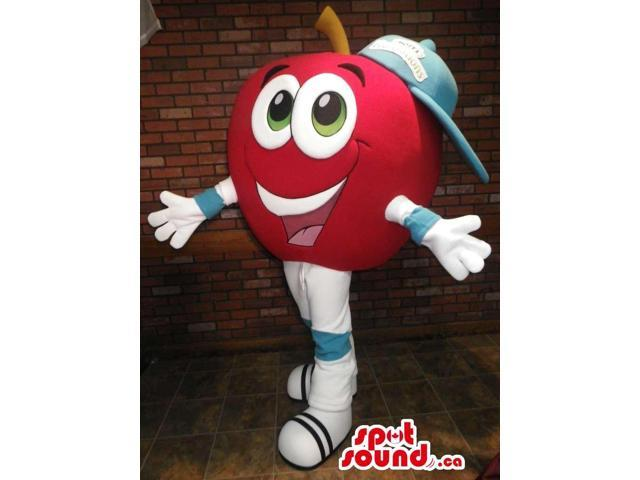 Cute Red Apple Fruit Canadian SpotSound Mascot Dressed In A Cap With Logo