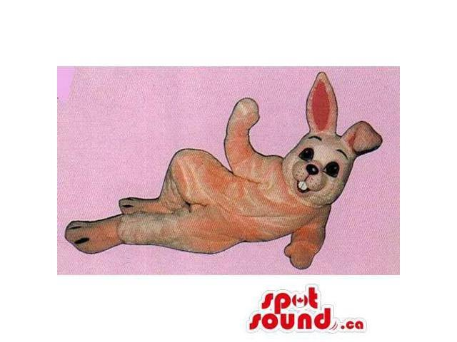 Customised All Pink Rabbit Canadian SpotSound Mascot With Black Eyes