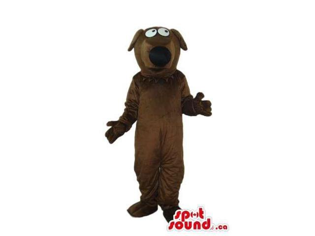Cartoon Brown Dog Plush Canadian SpotSound Mascot With Black Nose And Bent Ears