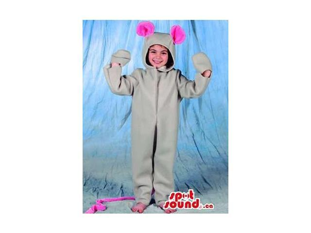 Grey Mouse With Pink Ears Children Size Plush Costume