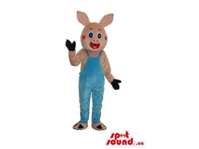 Customised All Pink Rabbit Canadian SpotSound Mascot Dressed In Blue Overalls