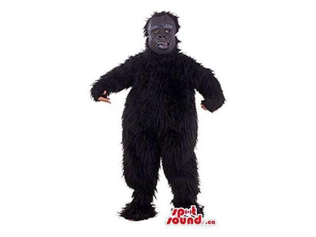 Black Woolly Monster Creature Canadian SpotSound Mascot With Grey Face