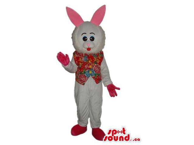 Cute Customised All White Rabbit Canadian SpotSound Mascot Dressed In A Flowery Vest