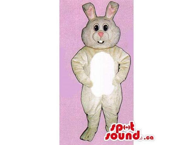 Customised Beige Rabbit Canadian SpotSound Mascot With Black Eyes And A Pink Nose