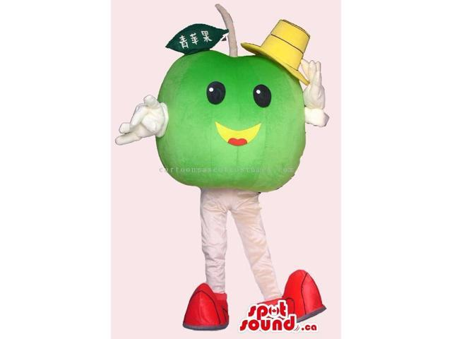 Cute Green Apple Fruit Plush Canadian SpotSound Mascot Dressed In A Yellow Hat