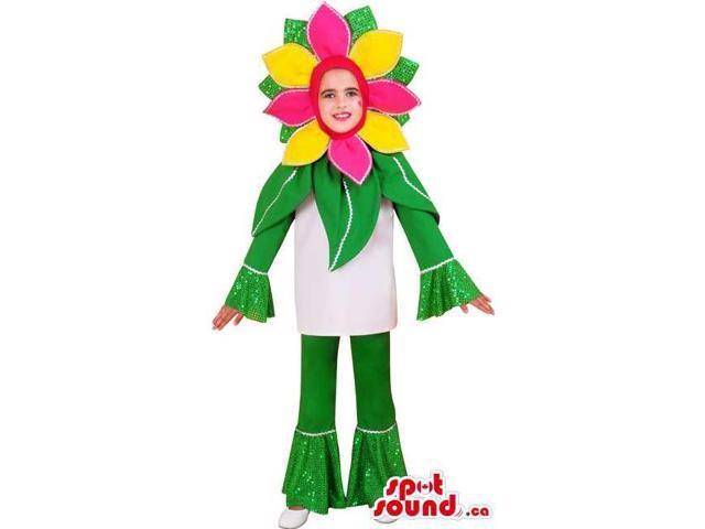 Cute Yellow And Pink Flower Plant Children Size Costume Disguise