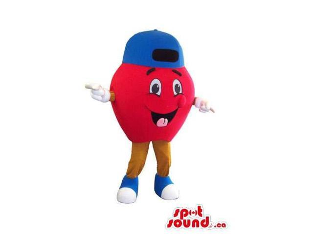 Happy Red Apple Plush Canadian SpotSound Mascot With Happy Face Dressed In A Blue Cap