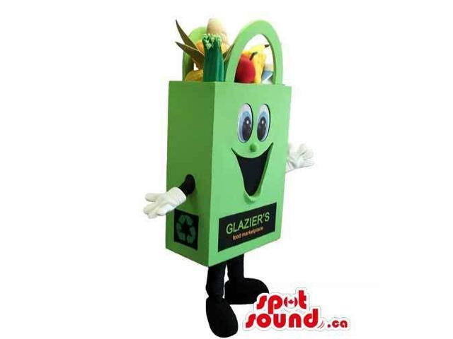 Customised Peculiar Green Shopping Bag With Groceries