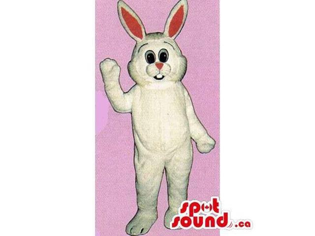 Customised White Rabbit Canadian SpotSound Mascot With Red Eyes And Ears