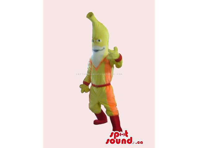 Banana Fruit Character Canadian SpotSound Mascot Dressed In Special Gear