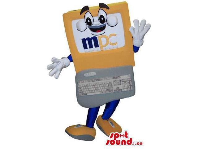 Computer Screen And Keyboard Canadian SpotSound Mascot With A Peculiar Face And Text