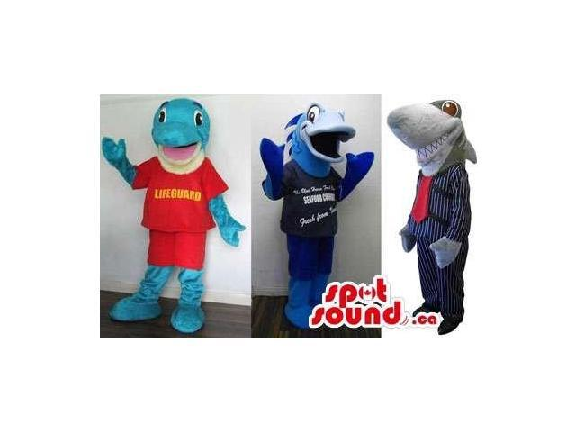 Three Shark Plush Canadian SpotSound Mascots With Various Customised Designs