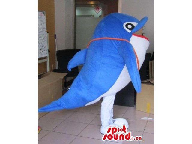 Blue And White Cute Dolphin Sea Ocean Swim Plush Canadian SpotSound Mascot