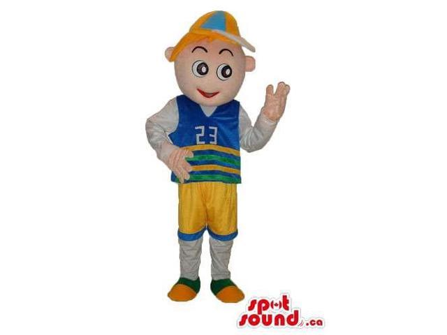 Happy Boy Canadian SpotSound Mascot Dressed In Blue And Yellow Gear And A Cap