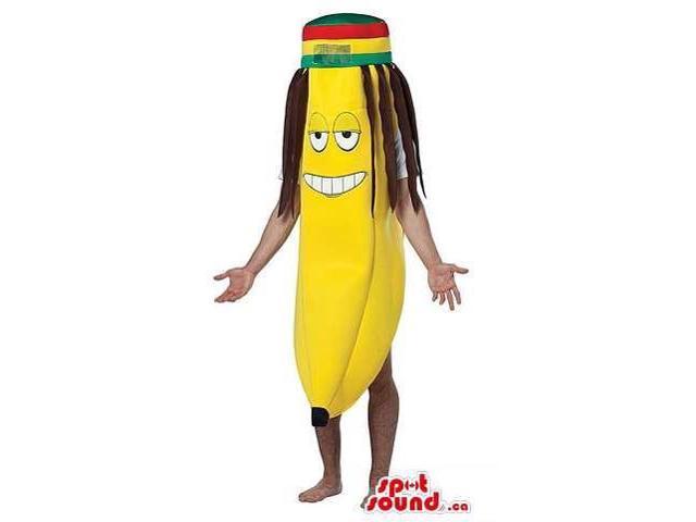 Cool Banana Canadian SpotSound Mascot Dressed In A Jamaican Hat And Rasta Dreadlocks