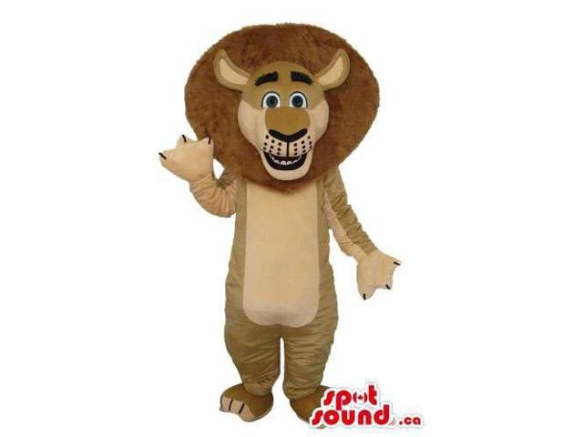 Cute Light Brown Lion Plush Canadian SpotSound Mascot With Round Brown Hair
