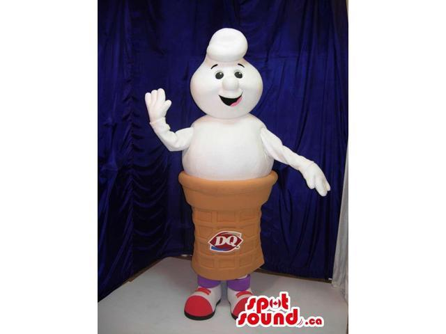 White Ice-Cream Cone Canadian SpotSound Mascot With A Logo And Peculiar Face