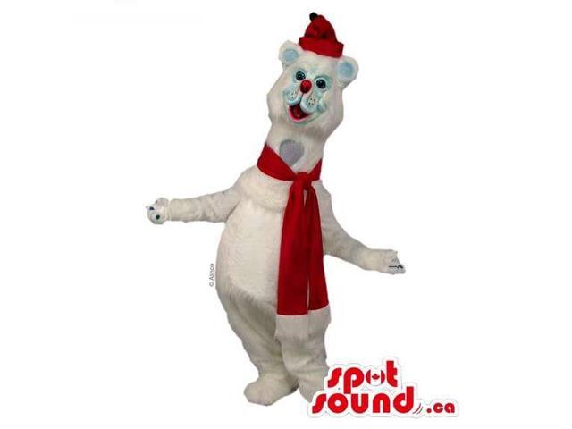 Customised White Polar Bear Canadian SpotSound Mascot Dressed In A Red Scarf And Hat
