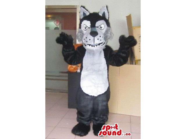 Furious Black And White Wolf Animal Plush Character Canadian SpotSound Mascot