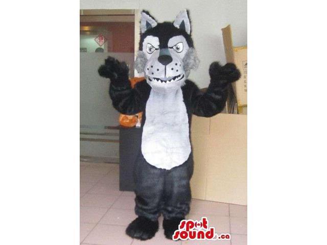 Furious Black And White Wolf Animal Plush Character Canadian SpotSound Mascot