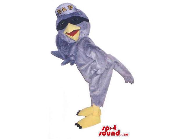 Grey Bird Plush Canadian SpotSound Mascot Dressed In A Cap With Text And Sunglasses
