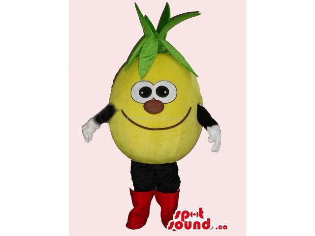 Peculiar Lemon Fruit Canadian SpotSound Mascot With Leaves, Red Nose And Boots