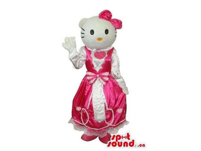 Kitty Cat Well-Known Cartoon Canadian SpotSound Mascot With A White And Pink Dress